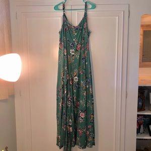 Floral Teal green Maxi Dress